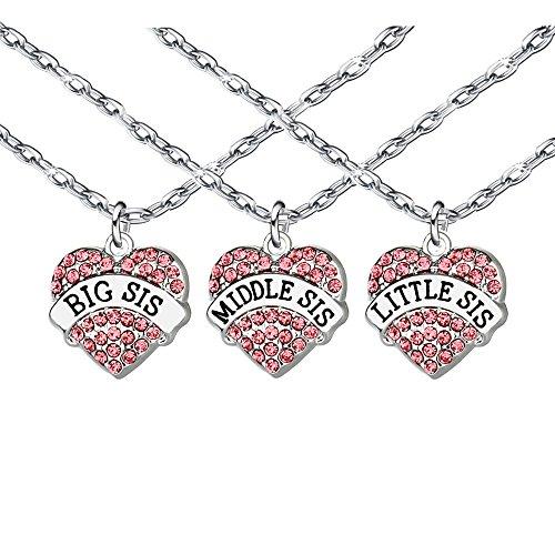Rosa Kristall Anhänger Halskette Geschenk Für Freund Schwester Familie Freundschaft Frauen Big Mitte Little Sis Schmuck Set