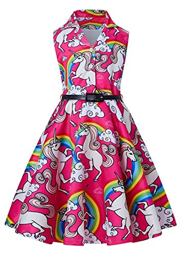 RAISEVERN Teen Girl Turndown Kragen Vintage ärmellose Einhorn Gürtel Kleider für Kinder Party Club Dance, Slim Fit mit A-Linie Rock -