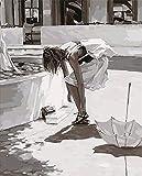 WWDFDD Pittura ad Olio con i Numeri, Dipinto a Mano di DIY Scarpe da Donna retrò di Bellezza Pictures Tela di Pittura Soggiorno Wall Art Decorazione Regalo di casa - 40x50cm Senza Cornice