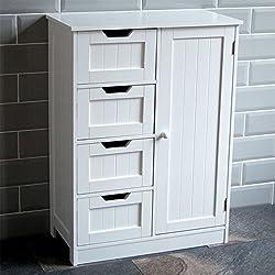 Home Discount® Bathroom Cupboard 4 Drawer 1 Door Floor Standing Cabinet Unit Storage Wood, White