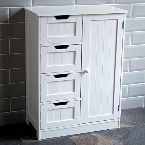home discount bathroom cupboard 4 drawer 1 door floor standing cabinet unit storage wood white - Towel Storage