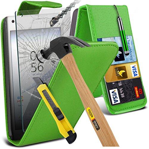(Clear) Fall für <b>      Apple iPhone 6s hülle     </b>     Fall hochwertiges und haltbares Survivor TPU Clear Gel Case Hülle+ gehärtetes Glas Display-schutzfolien von i-Tronixs Leather Flip + Glass ( Green )