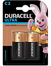 Duracell C Alkaline Battery with Duralock Technology (Black and Brown, Pack of 2)