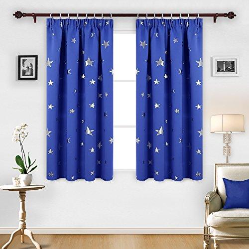 Deconovo tende oscuranti e termiche isolanti con motivo a stelle blu 117 x 138 cm due pannelli