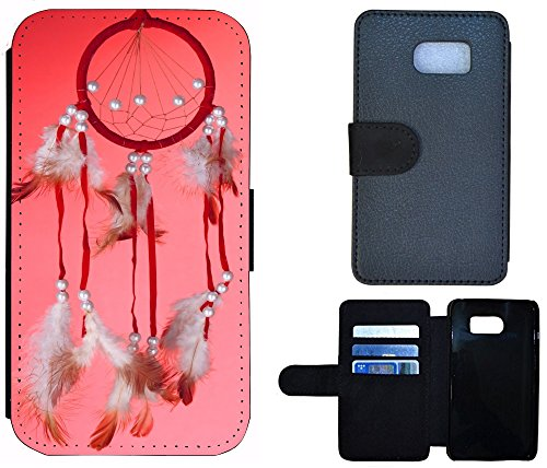 Schutz Hülle Flip Cover Handy Tasche Etui Case für (Apple iPhone 5 / 5s, 1192 Traumfänger Dreamcatcher Pink Rosa Rot) 1192 Traumfänger Dreamcatcher Pink Rosa Rot