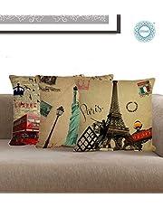 STITCHNEST Digital Printing Jute 12x12-inch Cushion Covers -Set of 3