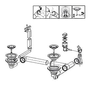 Esprit bonde et trop-plein pour évier franke ariane aRH 654/aRG 654, 654 aRL et distance aR/654/pièce de rechange/vidage