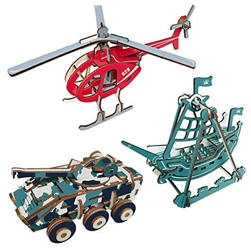 EQLEF 3D holzpuzzle, Holz Puzzle DIY Spielzeug Geschenk Set Hubschrauber Piratenschiff Tank Modell Woodcraft Construction Kit - 3 Stücke -