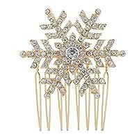 EVER FAITH® Austrian Crystal Winter Snowflake Hair Comb Clip - Gold-Tone B00030-2