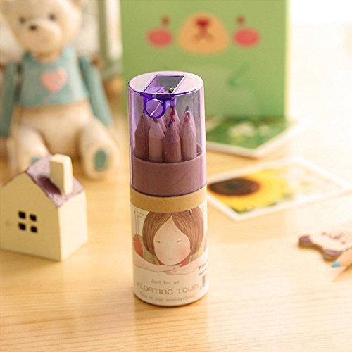 vevice Zeichnen Mini Farbige Bleistifte Set für Kunst Malbuch Schule mit Spitzer Zylinder Box 12Farben für Schüler Kinder Kunst Skizzieren Malbuch Schule (lila)