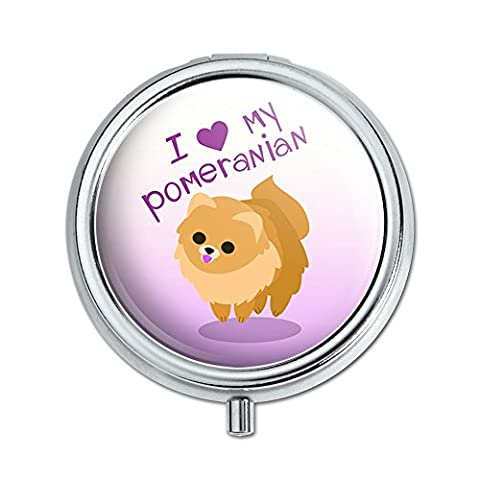 I Love Heart My Pomeranian Golden Pink Dog Pet Pill Case Trinket Gift Box by Graphics and More