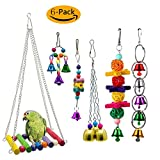 GingerUP 6 Pieces Bird Toys for Cockatiel Bird Swing Toys Bell Colorful Natural Wood Hammock Hanging Perch Small Medium Birds Parakeets Cockatiels Macaws Parrots Love Birds Finches