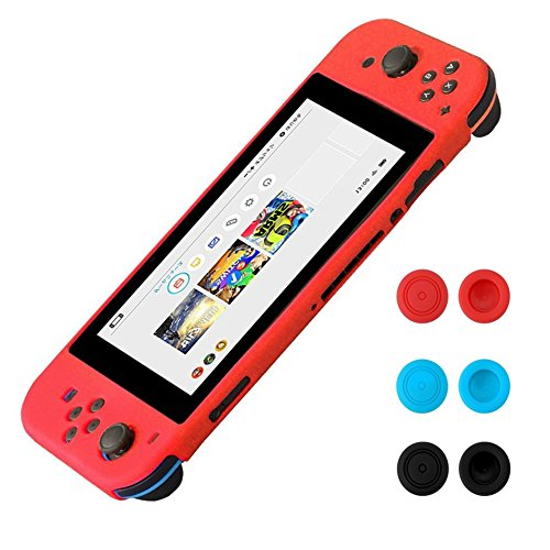 Funda de silicona para Nintendo Switch - Morbuy Funda carcasa protectiva antiresbalante caso case Funda de caja de TPU suave estilo de para Nintendo Switch & Thumb Grips Caps (Rojo)