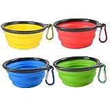 BeiYoYo Plegable Viajes Tazones para Perros Gatos Mascotas, Silicona Ligero Comedero Portátil Extensible Copa para Agua Comida (M, Amarillo + Azul + Rojo + Verde)