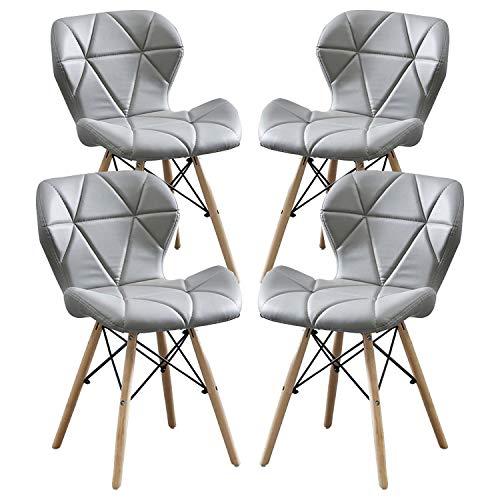 MIFI 4er Set Esszimmerstühle Esszimmerstuhl aus Massivem Naturholz, Eiffelturmstuhl Moderner Stuhl mit PU-Kissen Rundes Holzbein Moderner Stuhl für Wohnzimmer, Küche, Balkon Esszimmerstuhl (Grau)