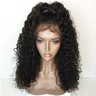 ze brasilianische Echthaar Perücke leimlosen Spitze vorne 130 % Dichte mit Baby Haare Jerry Curl lockigen Perücke Blac K mittellang (Jerry Curl Perücke)