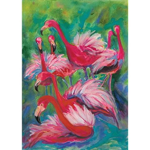 Hot Pink Flamingo Fancy 28 x 40 pulgadas casa Bandera Toland Home Garden