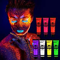 TENVA 7 x 25 ml Pintura Corporal y Facia UV Luz Negra Pintura Arte Corporal Neón Maquillaje