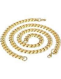 Trendsmax Moda para hombre Niños 11mm joyas de oro tono de cadena del encintado cubana conjunto de acero inoxidable collar de la pulsera de la joyería
