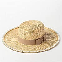 CFHJN Home Sombrero de Paja con Cabeza Plana incrustada para el Sombrero de  Paja de sombrilla f494224fbeb4