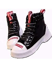 KPHY Zapatos de Mujer/Botas Cortas Martin Botas Estilo Ingles Los Estudiantes La Primavera Y El Otoño Fondo Plano Zapatos Altos.Treinta Y…