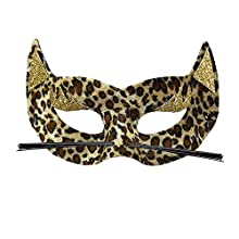 Maschera leopardo in velluto con glitter oro da donna