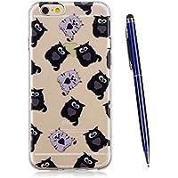 TOUCASA Funda iPhone 6S / 6 Plus (5,5 Pulgadas), Ultra Suave Funda de Silicona TPU Gel Bumper, Anti-Choque Ultra-Delgado Anti-arañazos Carcasa Protector Caso Estuche (Gato Negro)