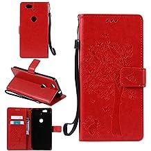 Funda Libro para Huawei (Google) Nexus 6P, Ycloud PU Leather Cuero Con Flip Cover Cierre Magnético Función de Soporte Billetera Case con Tapa para Tarjetas Gato Árbol Mariposa Rojo