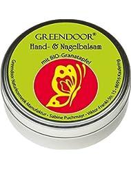 Greendoor Baume pour les mains / Crème idéal très peau sèche avec BIO Grenade, Cosmétique naturel sans agent de conservation, Huile minérale et Parabène, 4 prises Rendement face à une crème, ongles