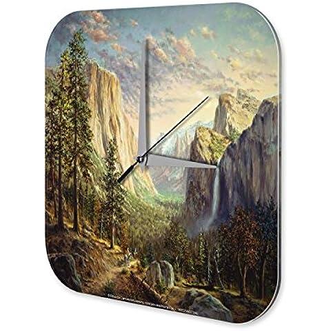 Reloj De Pared Aventurero Decoración Cascada de las montañas Bosque Ecuestre Plexiglas