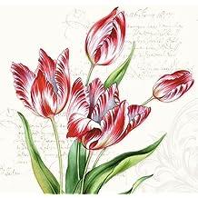 4 servilletas de papel para decoupage, 3 capas, 33 x 33 cm, tulipanes