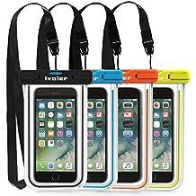"[IPX8 Certificato] Custodia Impermeabile,[4 Pack] iVoler Custodia Cellulare Impermeabile Universale 6.2 Pollici Waterproof Cover Case Impermeabile per iPhone X / 8 / 8 Plus / 7 / 6s / 6, 7 Plus / 6s Plus / 6 Plus, SE 5S 5C, Samsung Galaxy S9/S9 Plus/S8/S8+/S7/S7 Edge/S6/S6 Edge/Edge+, Note 5/4/3/Edge, Huawei P20/P20 Lite/P10/P10 lite, Nexus, ASUS, LG, HTC, Sony Xperia, Motorola ed Smartphone Uguale o Inferiore a 6.2"",ecc - Garanzia a vita (Nero+Blu+Verde+Orange)"