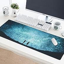 Alfombra de ratón xxl Gamer regalo romántico noche cielo estrella portátil gran Pad bajo mano 40* 90* 3mm para juegos ordenador portátil escritorio Base de goma antideslizante azul c 800*300*3mm