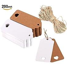 notens 200Pack papel kraft etiquetas DIY regalo de Navidad Tarjeta decorativa Tags Fuerza colgar Día Blank Label