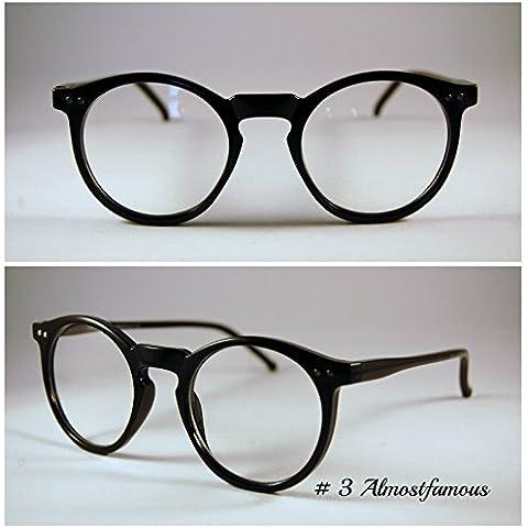 Ranura de Hipster redondo Vintage negro Retro Geek Wayfarer Nerd moda marco negro ronda gafas lente claro gafas mundo ojo
