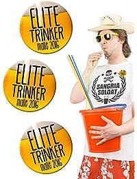 Party Buttons Malle 2016 Elite Trinker 3 Stück orange schwarz 50mm (Bundle)