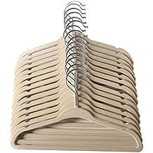 Perchas de ropa aterciopelada, Bebé clasificado, Diseño Ultra Delgado y Sin Deslizamiento Paquete de 15 Por Mangotree (Beige)