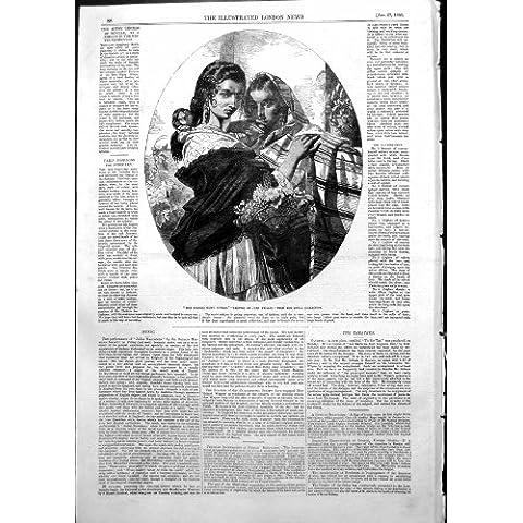 Impresión Antigua de la Colección Real Gitana Española 1855 de Juan Phillip de las Hermanas