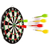Skyfun Double Sided Flocking Dart Board Steel Tip Dart Game With 4 Darts To Improve Aim, Concentration, Activeness For Kids