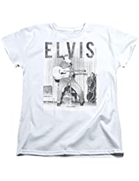 Elvis Presley - Womens With The Band T-Shirt, Large, White