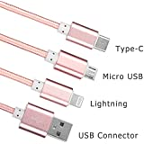 MARK AMPLE® USB Type C 3 In 1 Cable, 3.9ft/1.2M Micro USB/Lighting/Type-C Charging Syncing Data Cable For IPhone 6s Plus SE 5s, IPad, Macbook, Samsung Galaxy S7 S7 Edge, HTC, LG ,ChromeBook, Etc(Multi Colour))