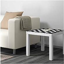 Vinilo para Mesa Ikea Lack Personalizada Tablero Ajedrez clásico blanco y negro | Medidas 0,55 m x 0,55 m | Vinilo personalizado | Pegatina Decorativa de Diseño Elegante