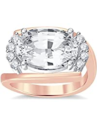 Silvernshine 4Ct Oval & Round Cut Sim Clear Diamonds 18K Rose Gold Plated Engagement Ring
