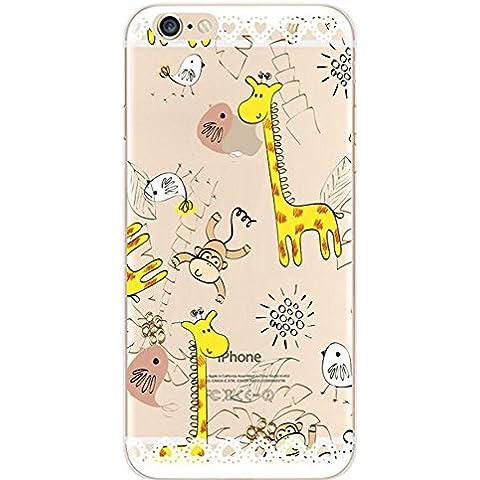 iPhone 6 6S Custodia Case Cover, Greendimension® TPU Del Gel Del Silicone Variopinto Sveglio Modello Stampato Trasparente Case Cover Per iPhone 6 6S 4,7 pollici (Scimmia e Giraffa) - Giraffe Scimmia