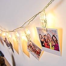 Gledto 220cm 20LED Bianco Caldo Foto Clip Molletta Impermeabile Luce Strisce Luce della Stringa Chiara Stella Alimentata a Batteria per Giardini Casa Matrimonio Festa di Natale Compleanno