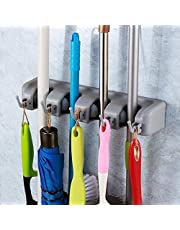 Ontime Multipurpose Wall Mounted Mop and Broom Holder (Silver)