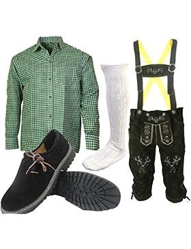S 4 Trachtenset (Hose +Hemd +Schuhe +Socken ) Bayerische Lederhose Trachtenhose Oktoberfest Leder Hose Trachten
