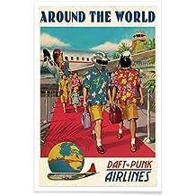 """JUNIQE® Poster 20x30cm Daft Punk Music - Diseño """"Around The World"""" (Formato: Portrait) - Láminas, Impresiones en papel & Imagenes por artistas independientes - Arte retro y vintage - diseñado por Ads Libitum"""