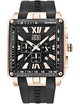 CERRUTI CRA012I224G ODISSEA MASTER Chronograph Uhr Herrenuhr Kautschuk Edelstahl 3 bar Analog Chrono Datum schwarz