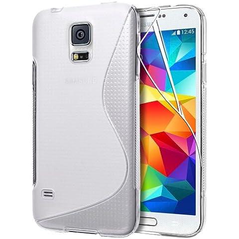 Samsung Galaxy S5 i9600 G900, %2F %2F di alta qualità, in morbida in Tpu e gomma Gel di silicone, con pellicola proteggi schermo & Custodia e panno per la pulizia, Trasparente/Trasparente, small medium large mega